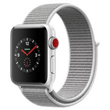 Apple Watch Series 3 GPS + Cellular - Silver Aluminum Case with Seashell Sport Loop (Choose Size)