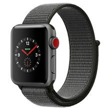 Apple Watch Series 3 GPS + Cellular - Space Gray Aluminum Case with Dark Olive Sport Loop (Choose Size)
