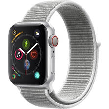 Apple Watch Series 4 GPS + Cellular Silver Aluminum Case with White Sport Loop (Choose Size)