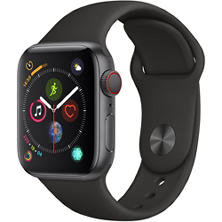 Apple Watch Series 4 GPS + Cellular Space Gray Aluminum Case with Black Sport Band (Choose Size)