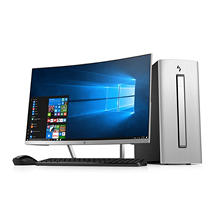 "HP ENVY Desktop Bundle with 27"" Curved Monitor, Intel Core i7-7700U Processor, 12GB Memory, 1TB +128GB SSD Hard Drive, 2GB NVIDIA GeForce GTX 1050 GDDR5 Graphics, Wireless Keyboard and Mouse, Windows 10 Home"
