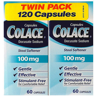 Colace 174 Stool Softener 100mg 2 60ct Sam S Club