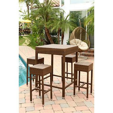 Bahama Outdoor Wicker 5 Piece Dining Bar Set Brown Sam