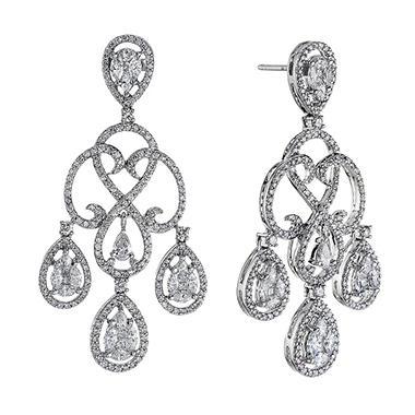 3 0 Ct T W Diamond Chandelier Earrings In 14k White Gold