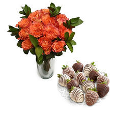 Free Spirit Rose Bouquet and Chocolate-Covered Strawberries