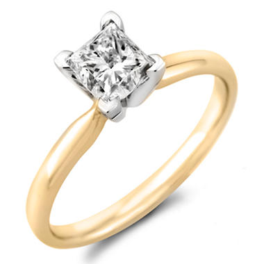 0 96 ct princess solitaire ring in 14k yellow