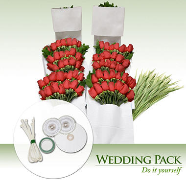 Do It Yourself Wedding Flowers Kit Red Roses 200 Stems