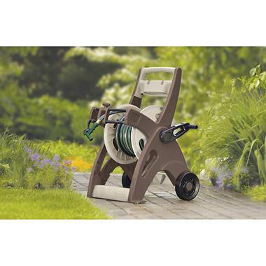 suncast 175 ft slide trak hosemobile hose reel cart mocha by suncast
