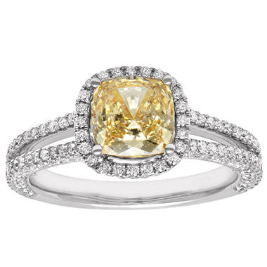 1.86 CT. T.W. Yellow Diamond Engagement Ring (H-I,SI1 ...
