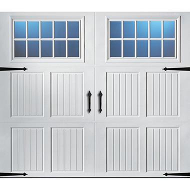 Amarr classica 2000 white carriage house garage door for 10 x 8 garage door lowes