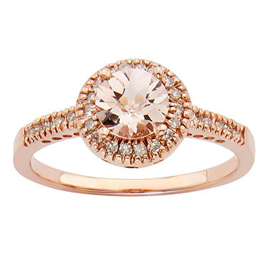 morganite and ct t w diamond fashion ring in 14k. Black Bedroom Furniture Sets. Home Design Ideas
