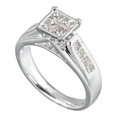 0.96 CT.T.W. Princess Quad Diamond Ring in 14K White Gold ...