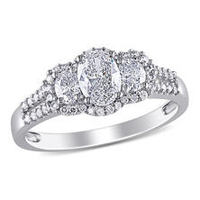 1 CT. T.W. Oval and Round-Cut Diamond Three Stone Halo Engagement Ring in 14K White Gold