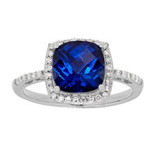 Created Sapphire Ring with Diamond Accent in 14K White Gold