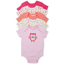 Member's Mark Girls' Owl 5 Pack Short Sleeve Bodysuits