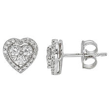 0.31CT. T.W. Diamond Heart Stud Earrings in 14K White Gold