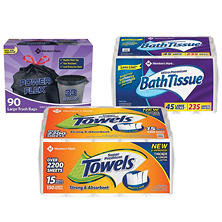 Member's Mark Premium Paper Towel, Ultra Premium Bath Tissue, and Power-Guard Trash Bags (33 gal, 90 ct.)
