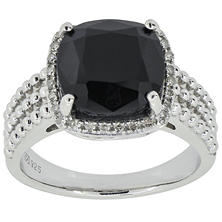 3.31 CT. T.W. Cushion Cut Onyx and Diamond Ring in Sterling Silver