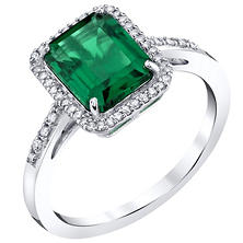 Lab Emerald and .14 CT. T.W. Diamond Ring in Sterling Silver