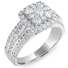 1.46 CT. T.W. Cushion Shape Diamond Engagement Ring in 14K White Gold