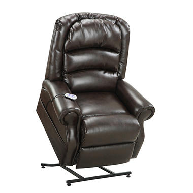 hayden power lift chair with heat massage chocolate bonded leather