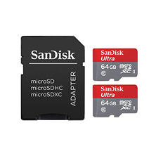 SanDisk Ultra 64GB microSDXC UHS-I Card with Adapter (2 pack)