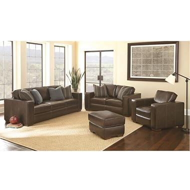 Ravello Full Grain Leather Sofa Loveseat Chair And Ottoman Set Sam 39 S Club