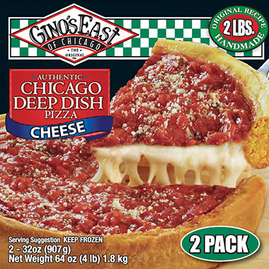 Gino S East Chicago Deep Dish Cheese Pizza 32 Oz 2 Ct