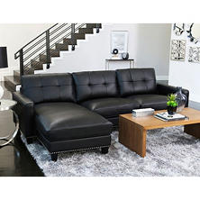 Sebastian Top-Grain Leather Reversible Sectional, Black