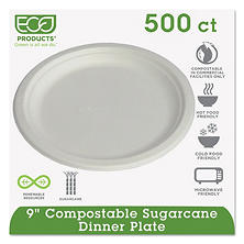 "Eco-Products Compostable Dinner Plate, 9"" (500 ct.)"