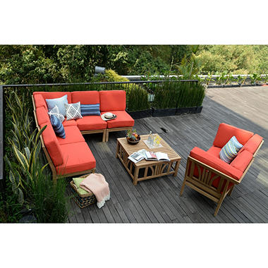 Teak sectional sofa set 8 pc red sam39s club for 8 pc sectional sofa