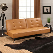 Terry Leather Sofa Bed with Metal Legs (Assorted Colors)
