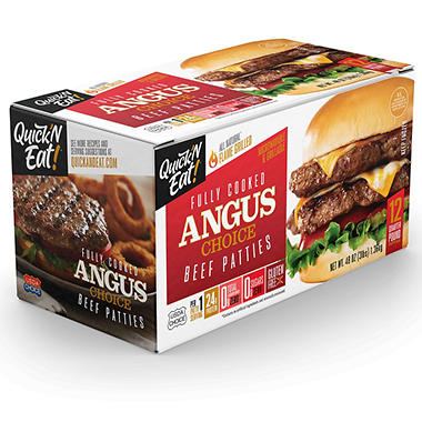 Quick N Eat Fully Cooked Choice Angus Patties 12 Ct