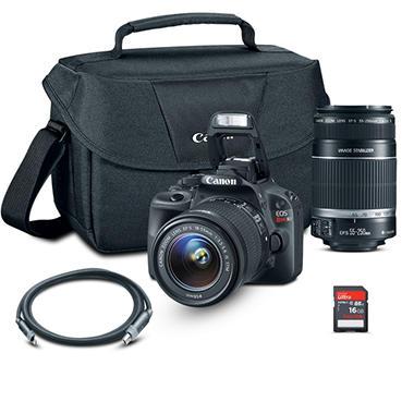 canon sl1 dslr camera bundle with 18 55mm lens, 55 250mm