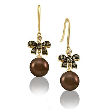 Chocolate Pearl Amp Chocolate Diamond Drop Bow Earrings