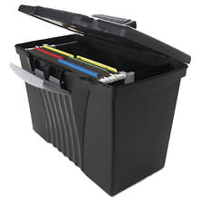 Storex - Portable File Storage Box with Organizer Lid, Letter/Legal - Black