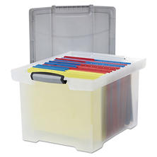 Storex Portable File Tote w/Locking Handle Storage Box,  Clear (Letter/Legal)
