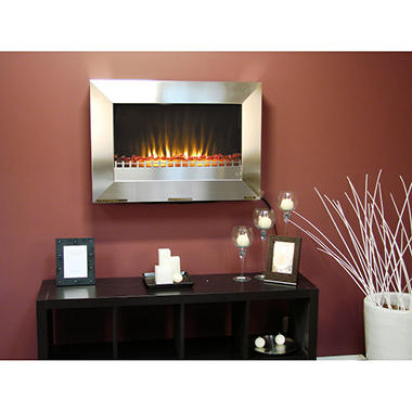 Stainless Steel Wall Mounted Electric Fireplace Sam 39 S Club