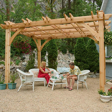 western red cedar pergola 10 39 x 12 39 sam 39 s club. Black Bedroom Furniture Sets. Home Design Ideas