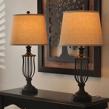 Heatherly Cage 32 Quot Bronze Table Lamp Set Of 2 Sam S Club