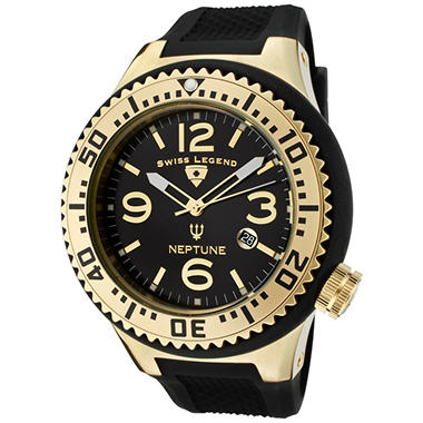 swiss legend men s neptune gold tone and black dial black rubber swiss legend men s neptune gold tone and black dial black rubber watch