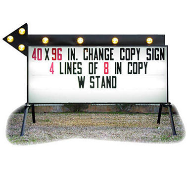 Outdoor signs america portable business sign with flashing for Flashing arrow sign letters