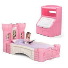 Princess Palace Twin Bed & Storage Bookcase Bundle