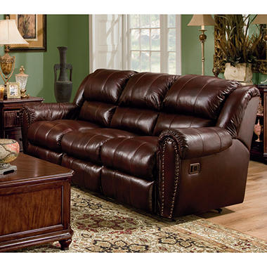 Lane sidney leather double reclining sofa sam39s club for Leather sectional sofa lane