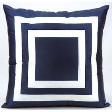 Mina Victory Squares Navy Outdoor Throw Pillow