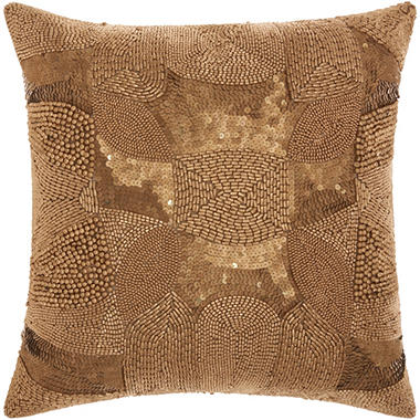 Antique Gold Decorative Pillows : Light Gold Antique Beading 18