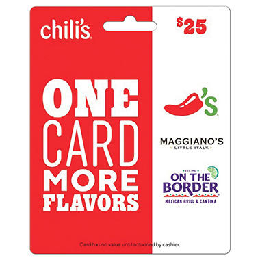 Chili's Grill & Bar Gift Cards & e-Gift Cards. Whether you want to connect with friends and family or just don't feel like cooking, head to Chili's Grill & Bar for our sizzlin' service, laid-back atmosphere and a taste of our spiced-up Southwestern favorites like our famous Grilled Baby Back Ribs, our juicy Big Mouth Burgers® or our tender marinated fajitas.