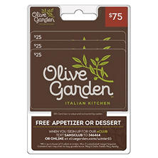 Olive Garden $75 Value Gift Cards - 3 x $25 and Free Appetizer or Dessert