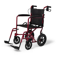 "Aluminum Transport Wheelchair with 12.5"" Wheels - Red"
