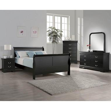Heritage Queen Bedroom Set Black 5 Pc Sam 39 S Club